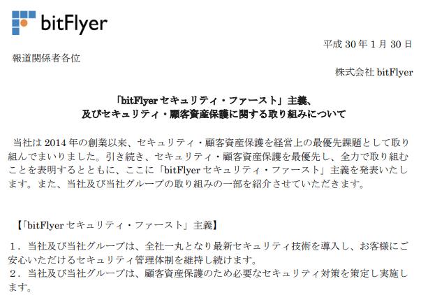 ビットフライヤーの公式発表文章