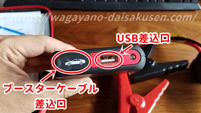 USBとケーブル差込口の写真